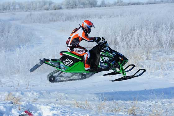 Team Arctic Cat's Benjamin Langaas wins the I-500. Photo by ArcticInsider.com