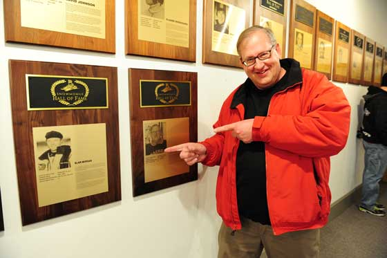 Inductee John Zeglin at the SHOF in St. Germain, Wis.