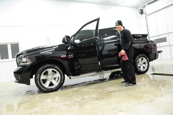 Arctic Cat's Tucker Hibbert with his new RAM truck, photo: ArcticInsider.com