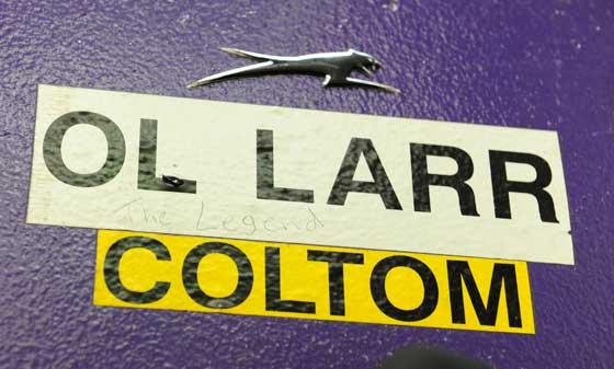 Larry Coltom's locker at Arctic Cat