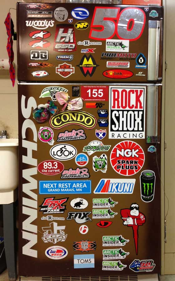 Decal art on my shop fridge.