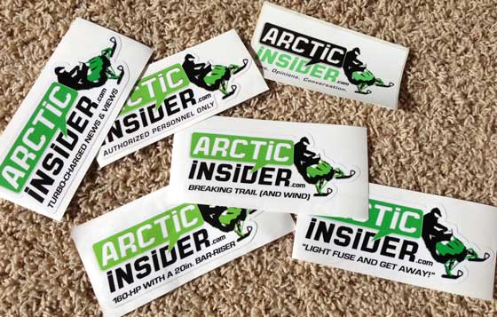 Most iterations of the ArcticInsider decals from 2009-13