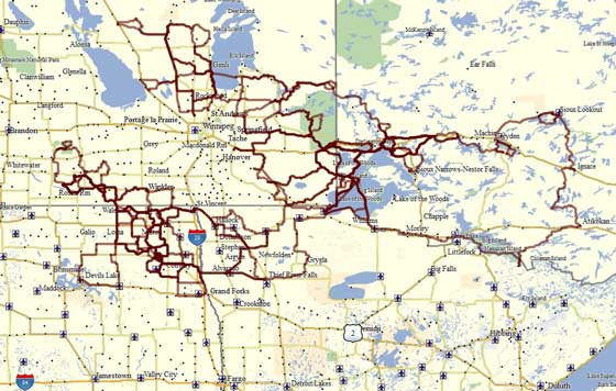 Map of the trails Ross Spoonland rode in 2013