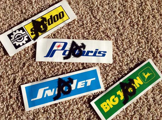 Arctic Cat-tagged decals from the 1970s