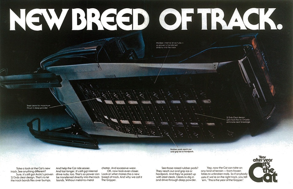 1975 Arctic Cat snowmobile print ad: New Breed of track