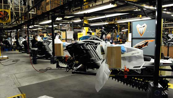 Arctic Cat snowmobile production line in TRF. Photo by ArcticInsider.com