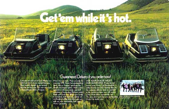 "1972 Arctic Cat ""Get 'em while it's hot"" snowmobile print ad"
