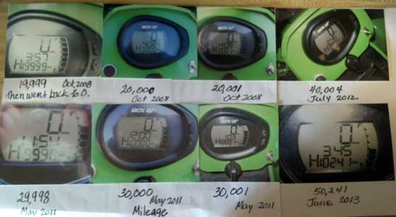 Curt Asche's Arctic Cat ATV odometer collage