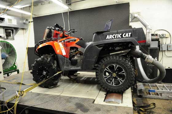 Arctic Cat TBX on a chassis dyno. Photo by ArcticInsider.com