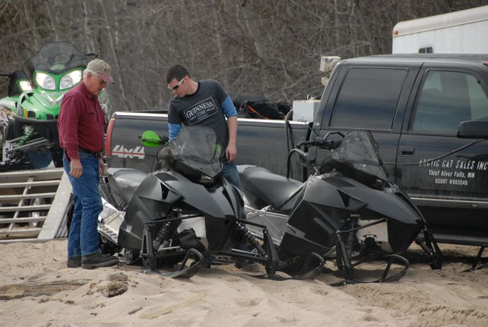 Arctic Cat's Larry Coltom & Ryan Hayes with prototypes in 2010. Photo: ArcticInsider.com