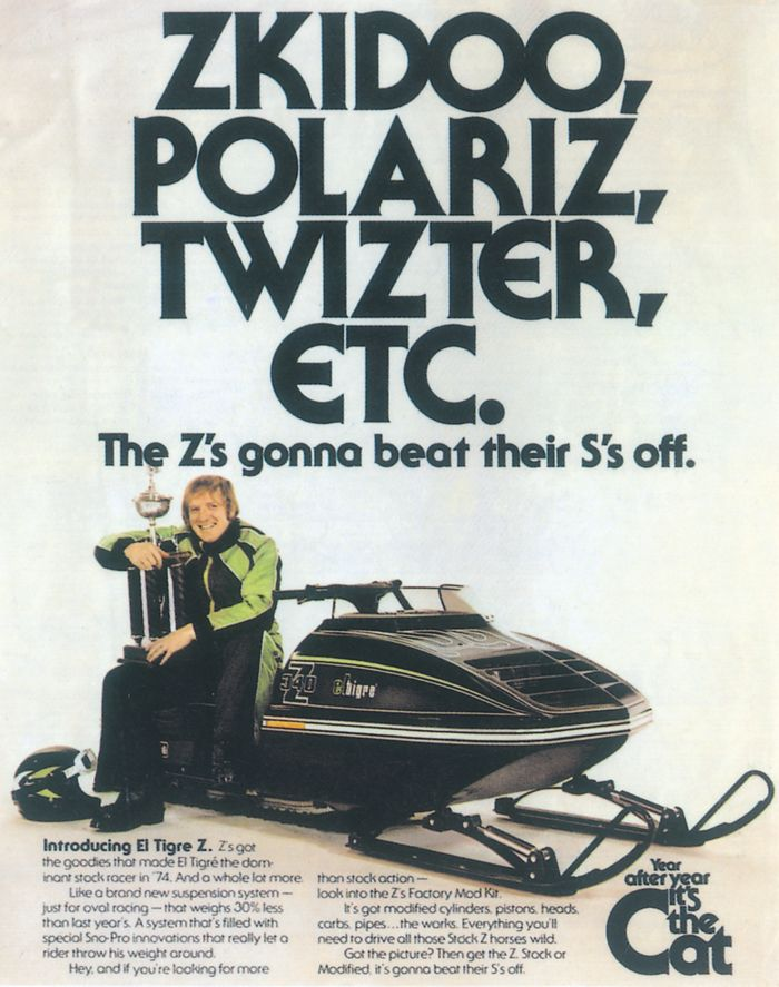 1975 Arctic Cat snowmobile race advertisement.