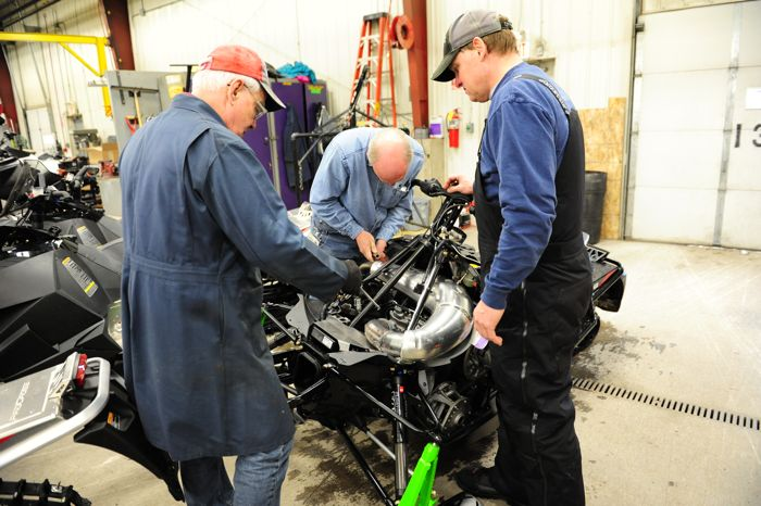 Arctic Cat engineers Larry Coltom, Greg Spaulding and Bart Magner
