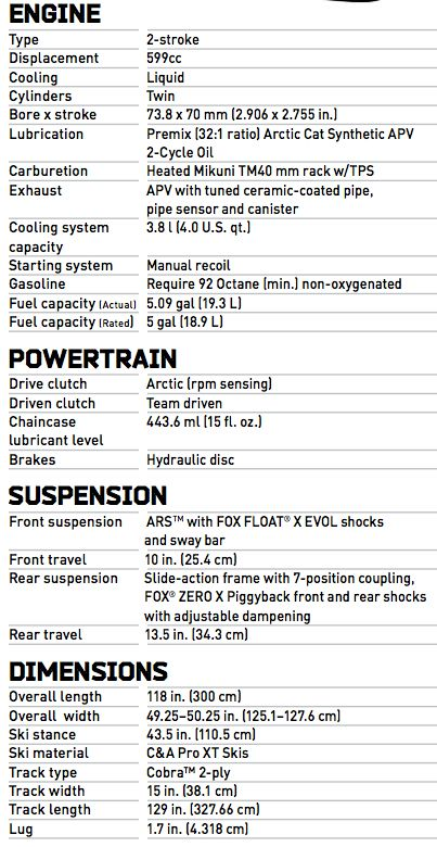 2014 Arctic Cat ZR6000 R Sno Pro SX Race Sled specifications