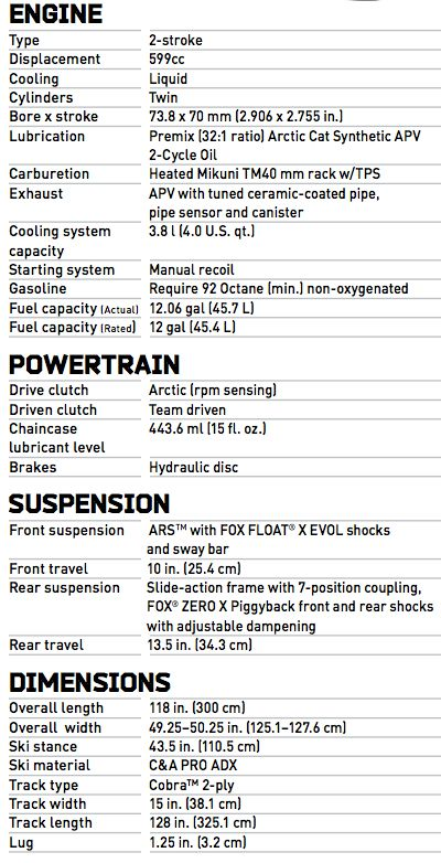 2014 Arctic Cat ZR6000 R Sno Pro XC Race Sled Specifications