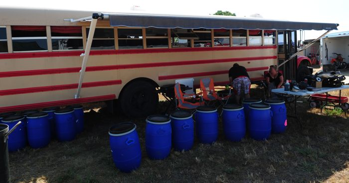 Barrels of asbestos for sale at Hay Days