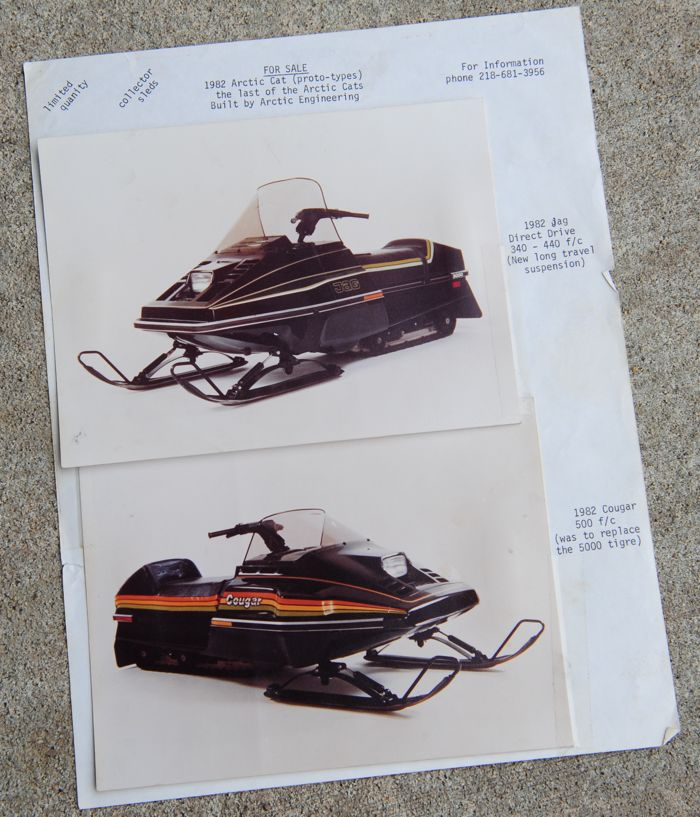 Espeseth's sales sheet for the 1982 Arctic Cat prototypes