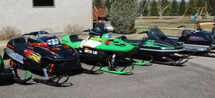 The Scott Watters collection of Arctic Cat snowmobiles.