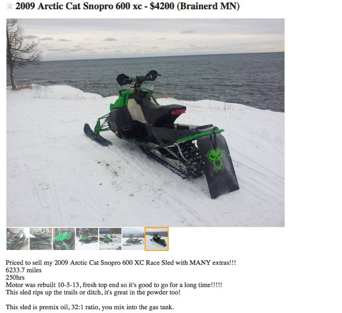 Craigslist Arctic Cat snowmobile greatness