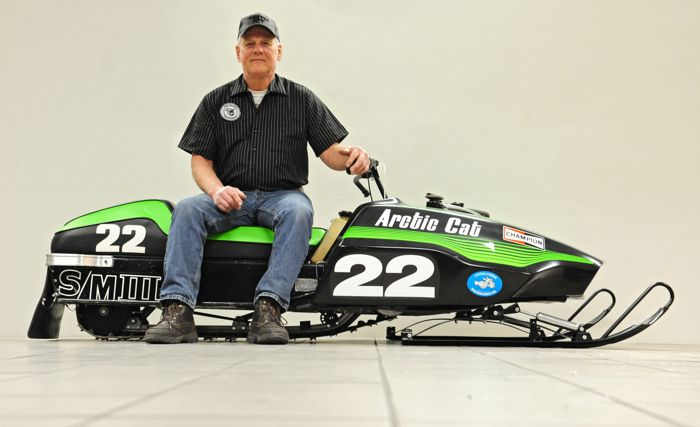 Larry Coltom and the 1976 Arctic Cat Sno Pro 440X. Photo by ArcticInsider.com