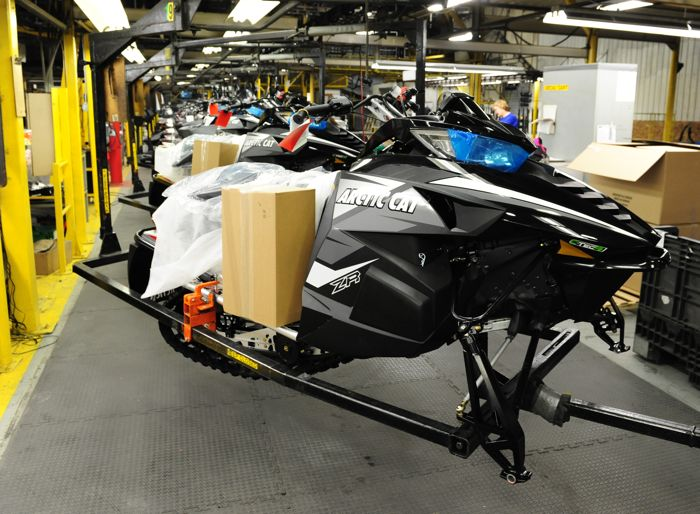 2014 Arctic Cat ZR7000 on the assembly line. Photo by ArcticInsider.com