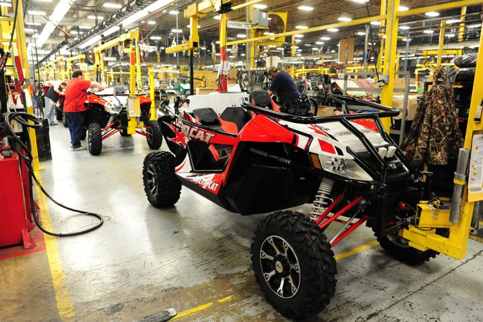 2014 Arctic Cat Wildcat X on the assembly line. Photo by ArcticInsider.com