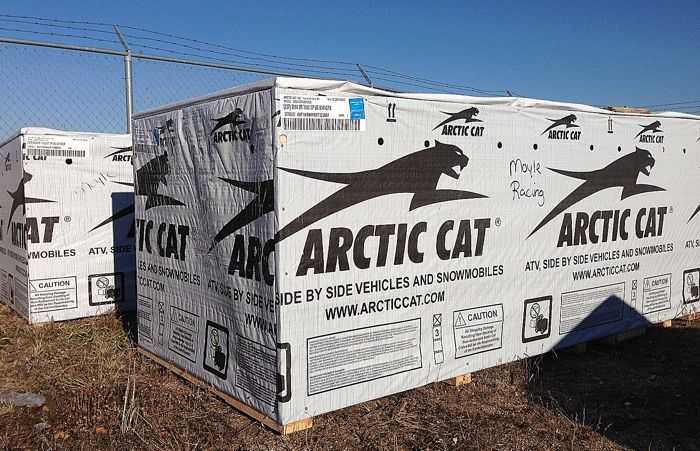 Gary Moyle's crated 2014 Arctic Cats.