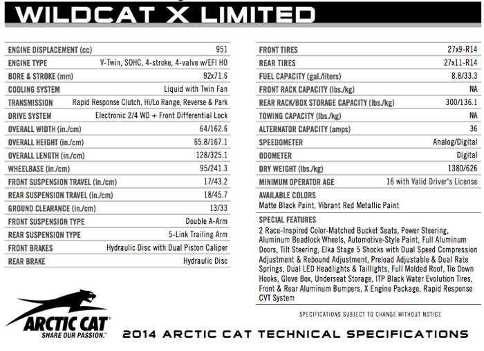 2014 Arctic Cat Wildcat X Limited Specifications