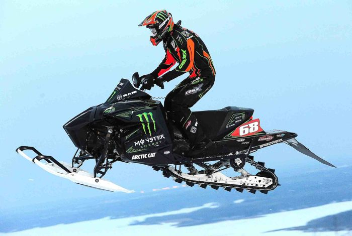 Tucker Hibbert dominated Duluth on his Monster Energy Arctic Cat. Photo by ArcticInsider.com