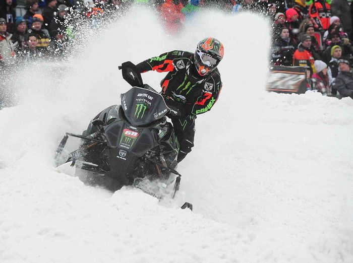 Team Arctic Cat racer Tucker Hibbert at Duluth snocross. Photo by ArcticInsider.com