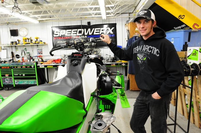 Team Arctic's Wes Selby in the Arctic Cat Race Shop