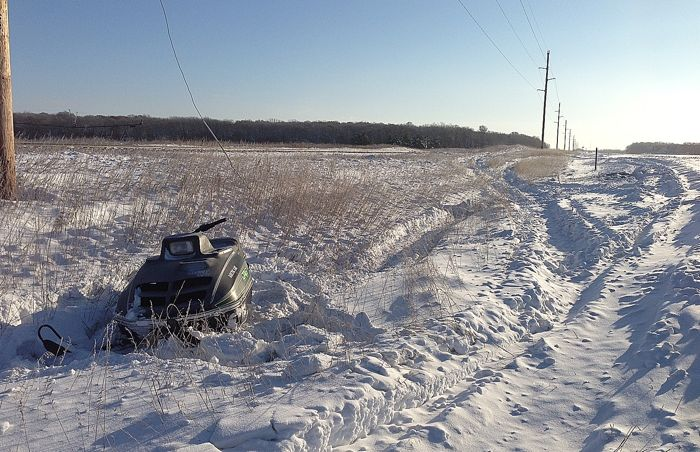 Arctic Cat Jag left in the ditch