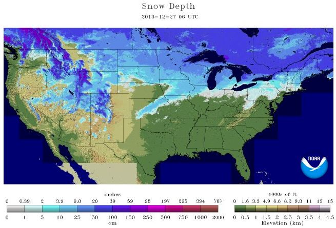 Snow depth Dec. 27, 2013