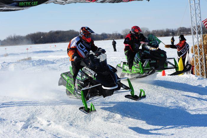 Team Arctic's Ryan Simons race-testing his Soo 500 sled.
