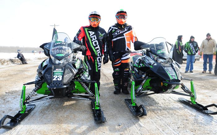 Team Arctic Cat's Brian Dick & Zach Herfindahl at the I-500. ArcticInsider.com
