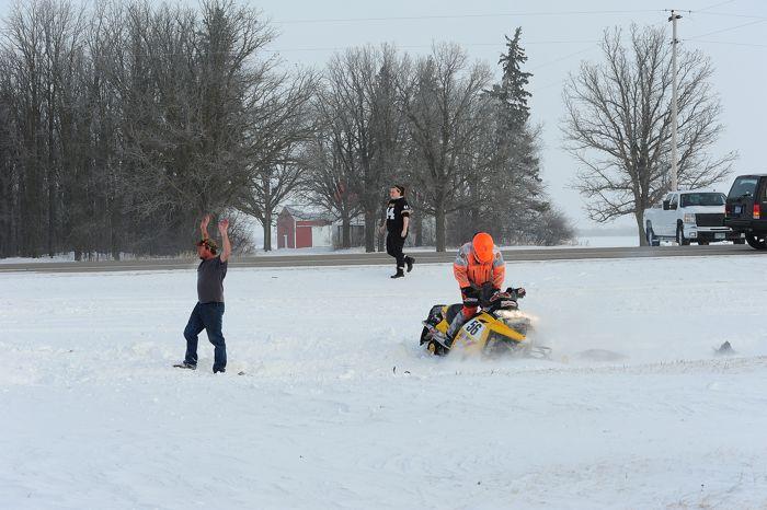 2014 USXC I-500 cross-country snowmobile ditch crash. Photo by ArcticInsider.com