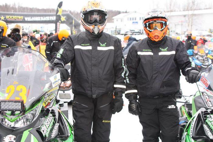 Team Arctic's Eric Quam (L) and Brian Dick at the 2014 Iron Dog