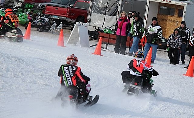 Youth snowmobile racing in DMC.