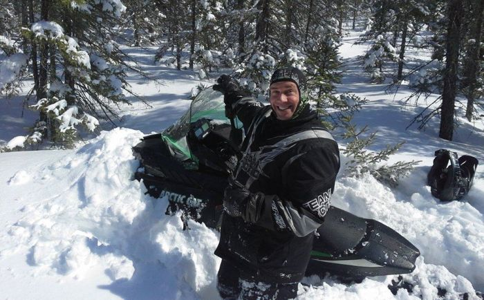 Arctic Cat's Andy Olson is happily stuck on a ZR 6000