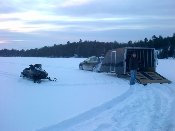 LumberHead overshoots the snowmobile parking lot