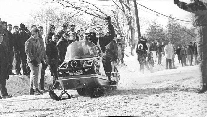 Dale Cormican wins the 1968 I-500 cross-country snowmobile race