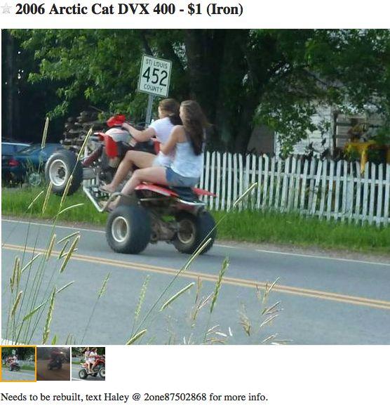 craigslist ATV ad featuring moronic wheelie masters