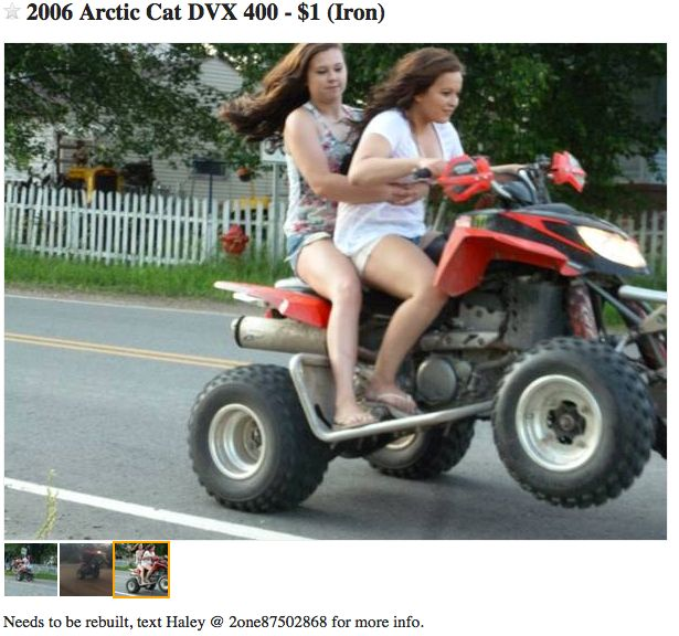 craigslist ATV ad featuring moronic wheelie masters