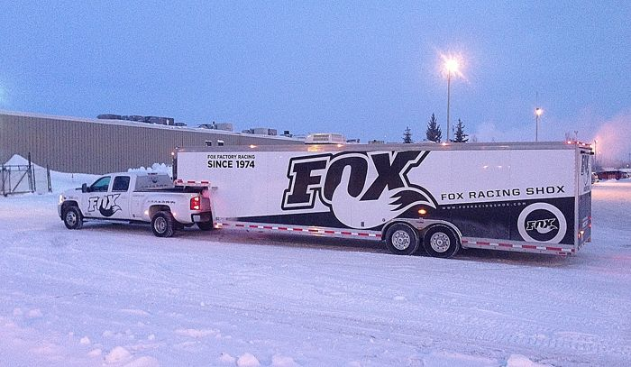 FOX SHOX Test Rig parked outside of Arctic Cat. Photo by ArcticInsider.com