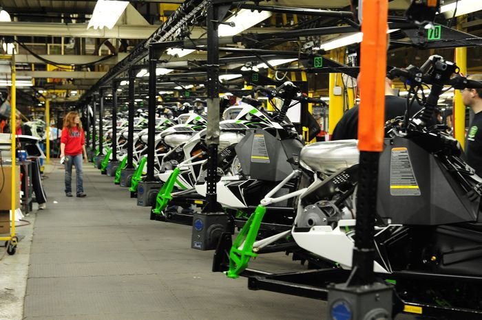 2015 Arctic Cat M model on the assembly line. Photo by ArcticInsider.com