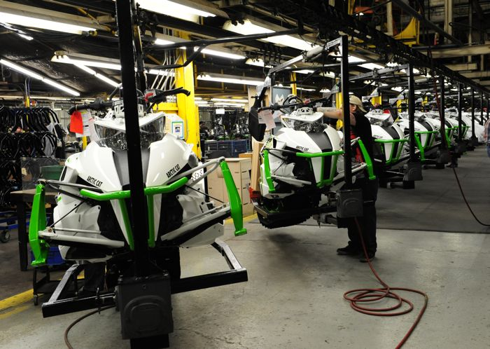 Inside Arctic Cat snowmobile production. Photo by ArcticInsider.com