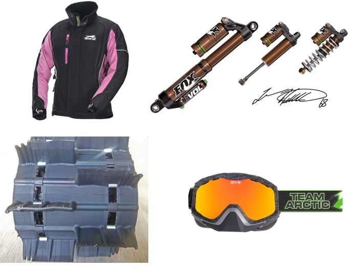 New FOX shox, PowerClaw 3-in. track, SPY goggles and jacket from Arctic Cat.