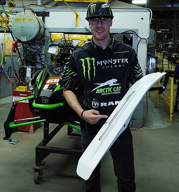 Tucker Hibbert and the TH edition 2015 Arctic Cat ZR 6000 RR production.