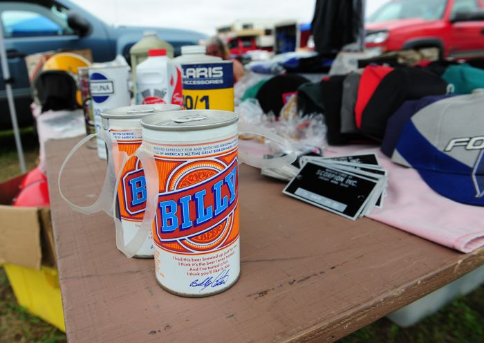 Billy Beer at a snowmobile swap meet? Yep.