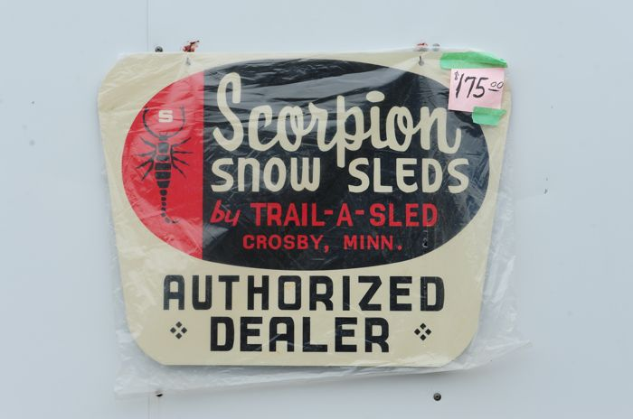 Scorpion snowmobile dealership sign. Photo by ArcticInsider.com