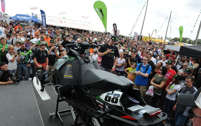 Arctic Cat unveils Tucker Hibbert (Edition F800 snowmobile) at the 2012 Hay Days. Photo by ArcticInsider.com